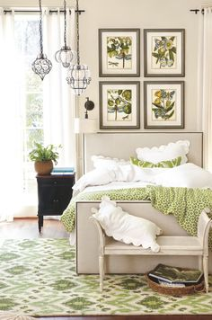 Marrakesh Pendants, Mara Bed with Antique Brass Nailheads, Whitney Cabinet, Katelyn Sconce, & Botanical Oasis Prints - now available at ballarddesigns.com