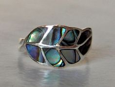 Abalone ring   Sterling silver  Paua   Size 7          Inlay shell band by GemstoneCowboy on Etsy