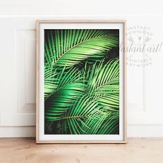 Tropical wall art PRINTABLE artpalm leaf by TheCrownPrints on Etsy