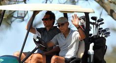 President Barack Obama, on a west coast swing during Columbus Day weekend came by San Diego's Torrey Pines Golf Course to play the famed south course with an unidentified male.