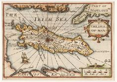 VAN DEN KEERE, Pieter. The Isle of Man.  Original copper engraved map with later hand colouring. With decorative cartouche, scale of miles and a central wind rose. c. 1627. #islands #antique