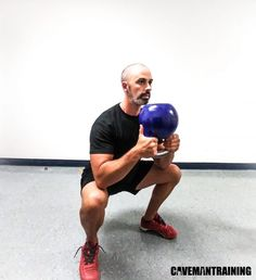A conventional exercise with unconventional equipment. The kettlebell squat is often seen as just a goblet squat, and that's it. Kettlebell Abs, Kettlebell Challenge, Kettlebell Training, Leg Routine, Squat Variations, Goblet Squat, Self Defense, Glutes, Gym Workouts