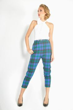 Vtg 50s Preppy Checker Tartan Plaid High Waist Wool Peg Trouser Menswear  Pants S | eBay