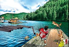 Practicing his shot with man's best friend #dogs #hockey