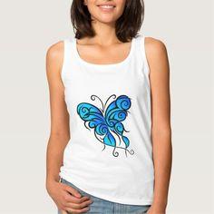 Blue Butterfly White Tank Top Tank Tops
