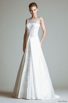 tony ward wedding dresses 2014 diane gown illusion neckline