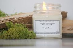 Twig and Moss Soy Candle // Mason Jar Candle // Natural Candle // Candle Gift // Scented Candle // Fresh Scent Candle // Country Candle by LynwoodCandleCompany on Etsy https://www.etsy.com/listing/510647859/twig-and-moss-soy-candle-mason-jar