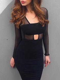 Black Splicing Mesh Cut Out Midi Dress