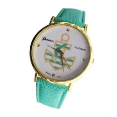 Mint Leather Watch with Gold andMint Striped Anchor
