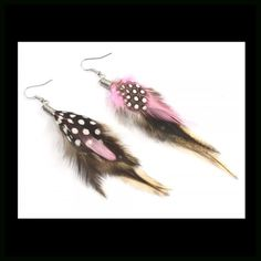 Pink Speckled Feather Earrings Please ask for separate listing. Beautiful Pink Speckled Earrings. 2 Jewelry Earrings
