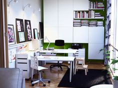 Office & Workspace:Office And Workspace Designs Office Workspace Design Ideas White And Green Office Rooms Concepts Creative Home Workspace ...