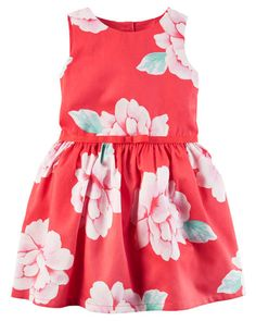 Crafted with a full skirt and a ribbon belt, this floral sateen dress is a picture perfect style for holiday celebrations! Baby Girl Items, Cute Baby Girl Outfits, Toddler Girl Outfits, Toddler Fashion, Kids Outfits, Kids Fashion, Toddler Hair, Toddler Girls, Carters Dresses