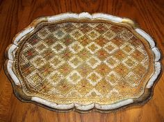 Large Vintage gold Florentine Italian tray 17 x 13 floral