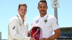 Captains Steve Smith and Faf du Plessis with the Test series trophy Steve Smith, Cricket, South Africa, Polo Ralph Lauren, Sports, Mens Tops, Hs Sports, Sport
