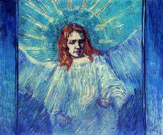 "Vincent van Gogh, ""Half Figure of an Angel"" (after Rembrandt), 1889."
