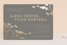 """""""In Bloom"""" - Classical, Floral & Botanical Foil-pressed Wedding Invitations in Graphite by Three Kisses Studio."""