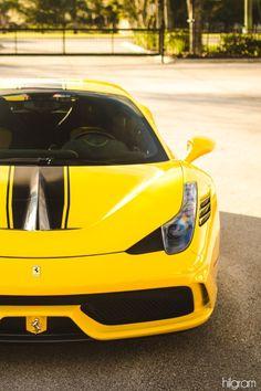 Yellow Ferrari 458 Speciale