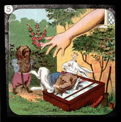 Created as a set of 24 slides based on Sir John Tenniel's original illustrations for the Lewis Carroll classic but altered to avoid copyright conflicts, these gems were meant for viewing on a magic lantern, or Laterna Magica — a primitive projector dating back to the 17th century, consisting of a concave mirror in front of a light source.