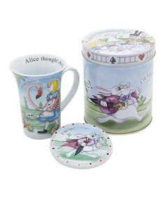 Another great find on #zulily! Alice in Wonderland Mug & Coaster Set #zulilyfinds