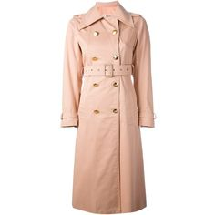 Céline Vintage trench coat (7,020 GTQ) ❤ liked on Polyvore featuring outerwear, coats, celine, jackets, trench coat, double-breasted trench coats, cotton trench coat, vintage coats and red trench coats