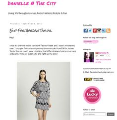 Danielle of Danielle N the City raves about the Elif for Jordan Taylor collection! http://daniellenthecity.blogspot.com/2013/09/elif-for-jordan-taylor.html?spref=tw