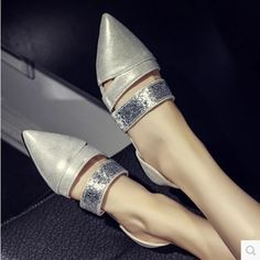 Feminine's Cheap Fashion Bling Pointy Toe Narrow Mouth Plus size 34-43 Women Slip-On Single Shoes On Flats Mum Sophia Webster