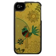 Whimsical Folk Art Bird - Customize Template Case For The iPhone 4