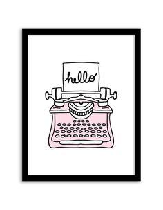 Download and print this Hello Typewriter free printable wall art for your home or office!