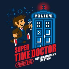 Super Time Doctor T-Shirt by @baznet   #supertimedoctor #supermariobros #doctorwho #whovian #8bit #videogames #gaming #tardis #policebox #funny #tshirt