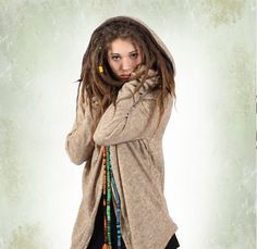 primitiv girl with dread. Tribal look when this cardigan is worn with the hood and Boho/gypsy/fairy/mori look whan it's worn wide open ▲◊↕◊▲ Toonzshop is a trip in an Alternative Universe of independent artists, brands and designers.