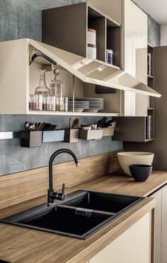 Kitchen Sink Design, Kitchen Cabinets Decor, Modern Kitchen Design, Interior Design Kitchen, Kitchen Furniture, Composite Kitchen Sinks, Diy Kitchen Storage, Kitchen Models, Cuisines Design