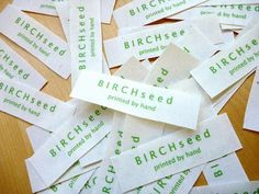B I R C H s e e d -- printed by hand: tutorial - how to make home made cloth labels for clothes and products. Perfect for labeling Colton's jackets/hats for school. Sewing Labels, Fabric Labels, Quilt Labels, Sewing Hacks, Sewing Tutorials, Sewing Crafts, Sewing Projects, Sewing Ideas, Sewing Tips