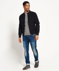 Superdry Ultimate Harrington-jakke i mollskinn.  Svart