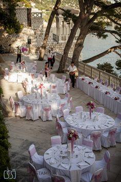 DUBROVNIK - Beach terrace of Grand Villa Argentina. A stunning Croatia wedding reception venue.