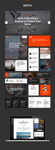 A modular UI kit for a super clean news site design. News Website Design, News Web Design, Web Design Quotes, Web Design Company, Web News, Web Ui Design, Responsive Web Design, Design Design, Ui Kit