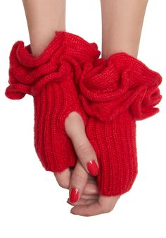 FUN! Must Be Ruffle Wrist Warmers in Red - Red, Solid, Knitted, Ruffles, Winter $26