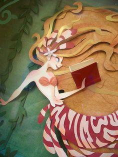Enjoying reading mermaid / Sirena disfrutando de la lectura (ilustración de Brittney Lee)