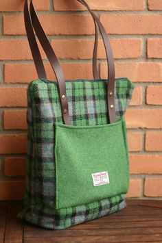 Harris Tweed tartan tote bag - handmade wool - no longer for sale on Etsy - pic for inspiration - may be made with repurposed wool?