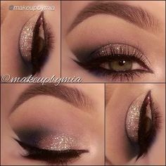 Gold Glitter and Black Smokey Eye Makeup - Winged Eyeliner - Beautiful