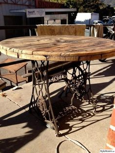 sewing machine base, dining table, rustic, round, recycled, cast iron