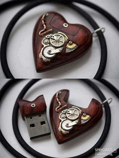 Cute Steampunk flash drive Necklace