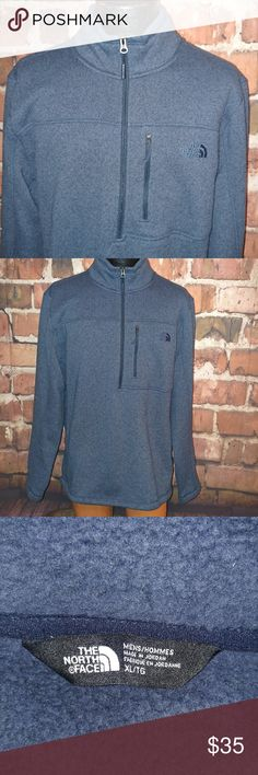 """EUC The North Face Mens XL Pullover Fleece The North Face Men's Pullover Fleece Sweater XL Dark Blue 1/2 Zip EUC   Excellent Used Condition! See Pics!   Pit to Pit 25""""  Collar to Bottom 33.5""""  Measurements are Approximate*   Any Questions Please Ask!   A4 The North Face Jackets & Coats Lightweight & Shirt Jackets"""