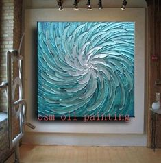 42 x 42 HUGE Custom Original Abstract Texture Modern Blue Silver White Floral Metallic Carved Sculpture Knife Oil Painting by Je Hlobik Wal Art, Oil Painting Texture, Flow Painting, Painting Inspiration, Art Projects, Abstract Art, Abstract Paintings, Mandala, Canvas Art