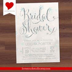 Winter Bridal Shower Invitation Glitter Bridal by LoveStruckStudio