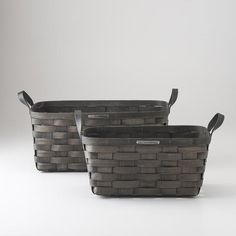 Darkened Ash Baskets - Rectangular