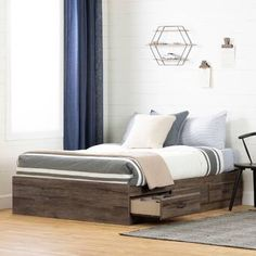 South Shore Asten Mate's and Captain's Bed with Drawers Bed Frame Colour: Fall Oak, Size: Full Full Platform Bed, Platform Bed With Storage, Full Bunk Beds, Kid Beds, Twin Storage Bed, Bedroom Storage, Captains Bed, Teenage Room, Bed With Drawers