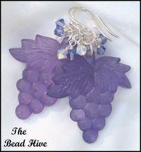Vintage Purple Resin Grape Charm Earrings with Swarovski Crystals