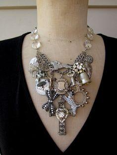 Vintage Necklace  Charm Necklace Bib Necklace   by rebecca3030