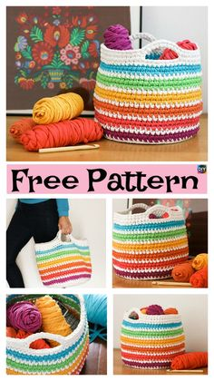 Crochet Spike Stitch Basket – Free Pattern #freecrochetpatterns #basket #storage
