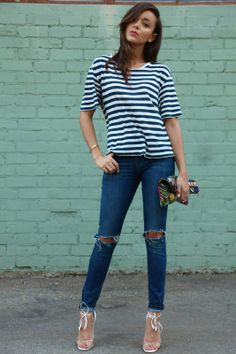 The gorgeous Ashley Madekwe rocking the perfect breton look. Off-duty inspiration.